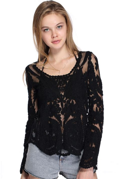 Black Blouse romwe hollow out lace crochet black blousefor romwe