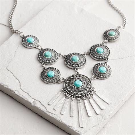silver turquoise disc statement necklace world market