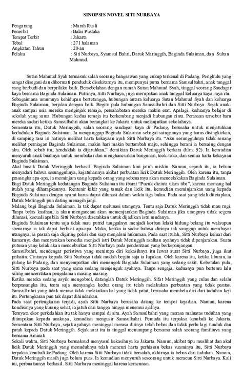 Contoh Sinopsis Novel Siti Nurbaya - Cerpen