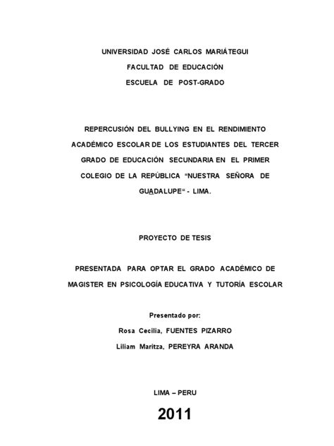 thesis de bullying proyecto de tesis bullying