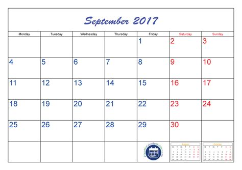 Calendar 2017 August And September Printable September Calendar 2017 Printable Printable 2017 Calendar