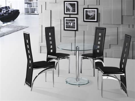 clear glass 80cm dining table and 4 chairs homegenies