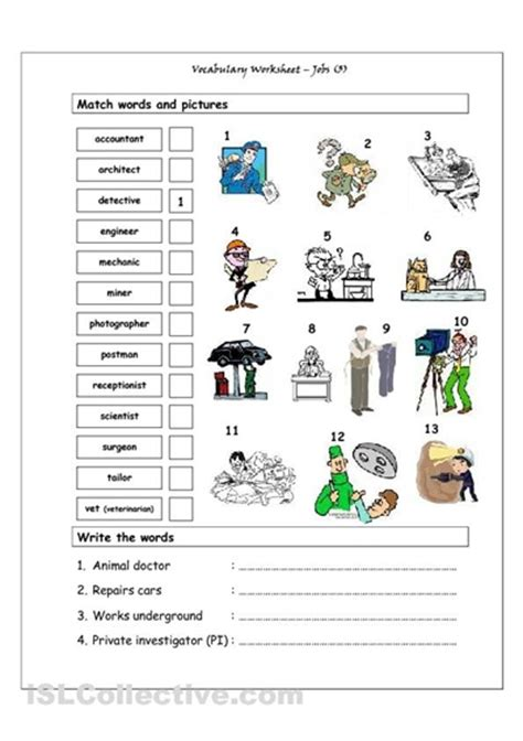english vocab themes vocabulary matching worksheet jobs 3 teens esl efl