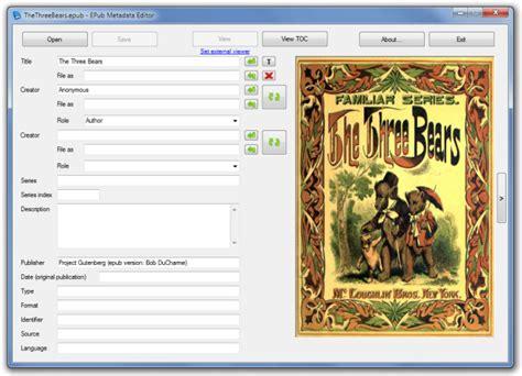 epub format editor edit metadata information of epub files