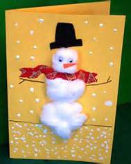 cotton ball holiday cards christmas arts crafts