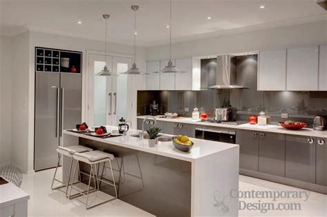 Kitchen Tiles Ideas For Splashbacks by White Kitchen With Grey Splashback