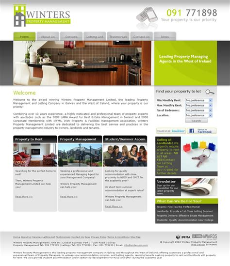 design management online winters property management galway website web design
