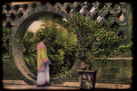 Home Design Japanese Style chinese woman in a formal garden with moon gate travel