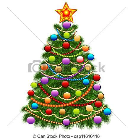 Tree Branch Decorations In The Home illustration of the christmas tree decorated with balls