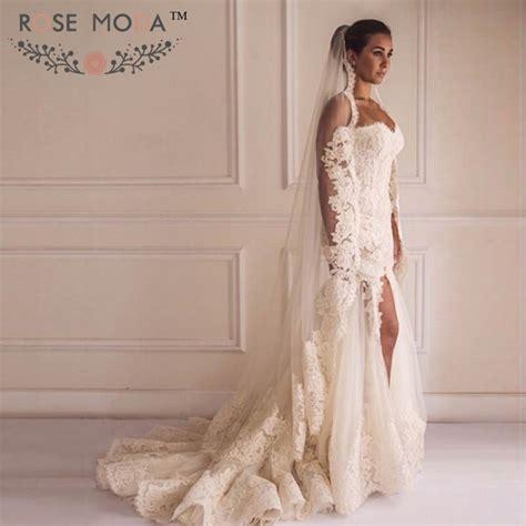 Flower Slit Dress sweetheart lace trumpet wedding dress with high slit 3d