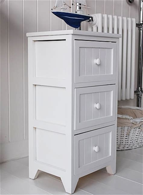 Maine Slim Freestanding Bathroom Cabinet With 3 Drawers White Bathroom Storage Furniture