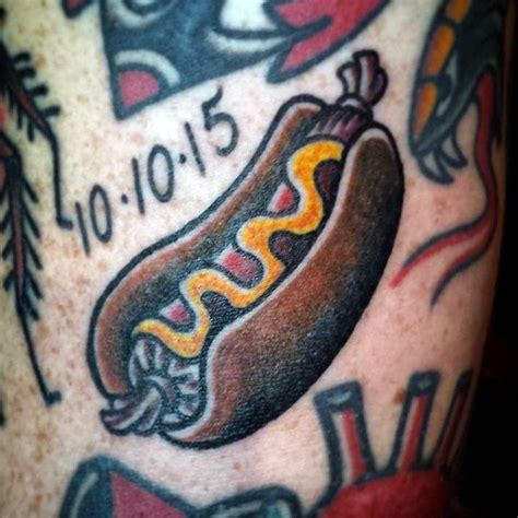 hot dog tattoo 40 designs for food ink ideas