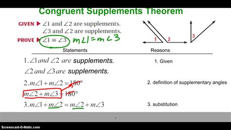 supplement vs complement angles congruent supplements complements theorems