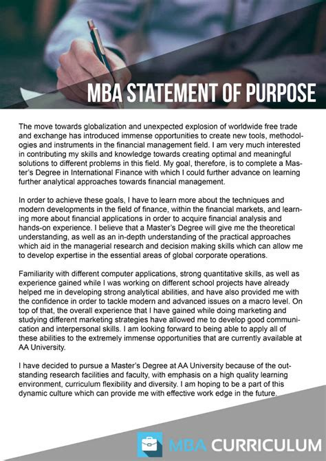 Statement Of Purpose For Mba Exle by Http Www Mbacurriculum Net Free Sle Statement Of