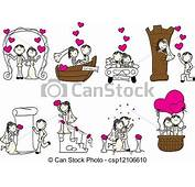 Cute Wedding Couple With Pink Hearts Vector Clip Art