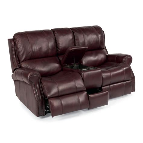 Leather Reclining Sofa With Console Flexsteel 1533 604p Leather Power Reclining Loveseat With Console Discount Furniture At
