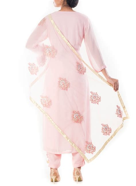 light pink suit womens buy light pink pure georgette cigarette suit straight