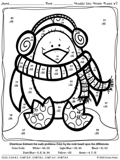 penguin math coloring page waddle into winter penguin math printables color by the