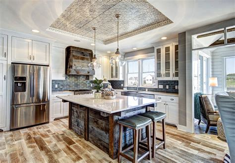 barn board kitchen island design ideas ranch style home with transitional coastal interiors