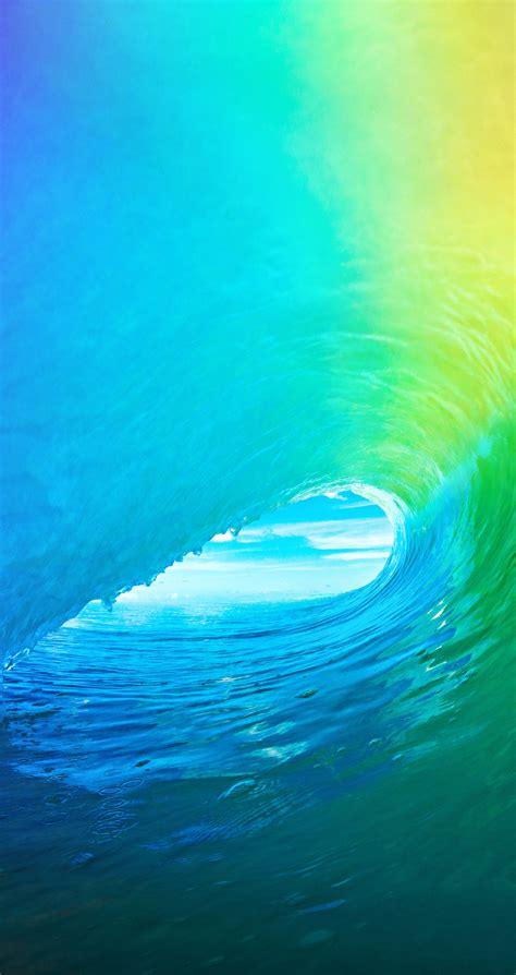 colored wave default ios  wallpaper