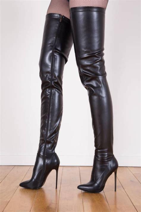 black giaro 12cm heeled thigh high boots