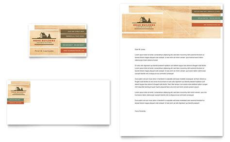 home builders construction business card letterhead