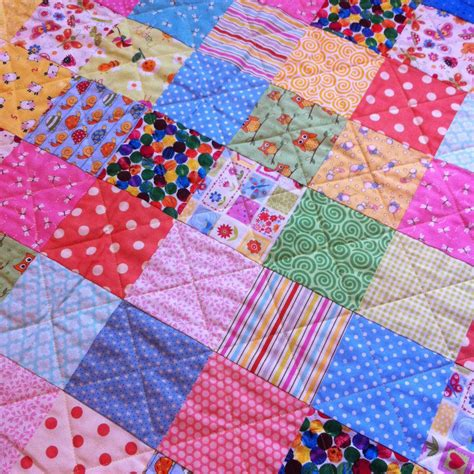 Patchwork Coverlet - the pink button tree how to make a patchwork quilt