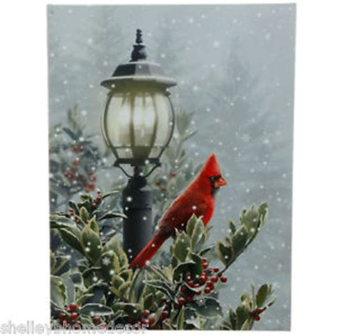cardinal on l post lighted christmas canvas rzchtw