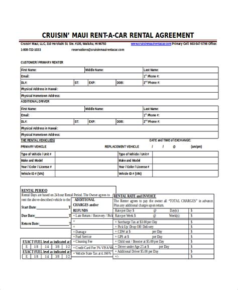 16 car rental agreement templates free sle exle