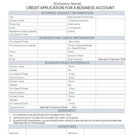 standard credit application template standard credit application form template