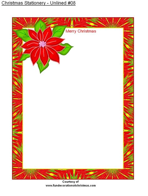 printable unlined christmas stationery christmas