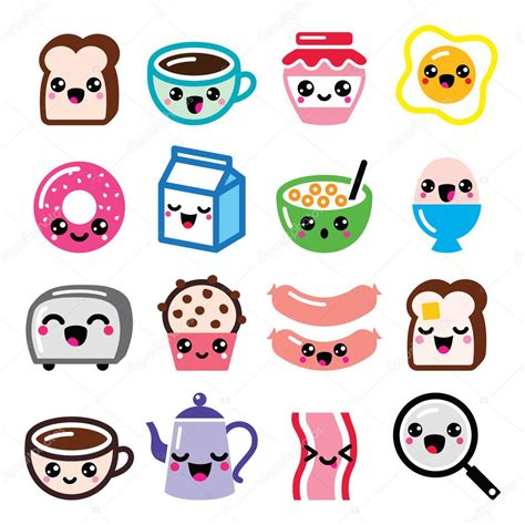 imagenes kawaii para descargar conjunto de iconos de personajes de dibujos animados