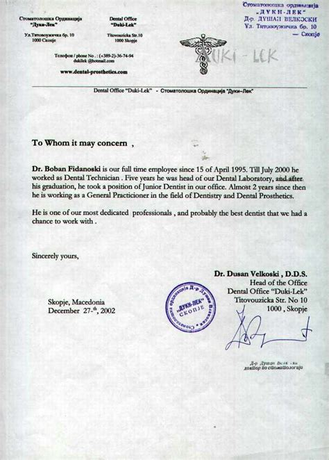 Letter Of Recommendation Dentist dr boban fidanoski dmd resume curriculum vitae