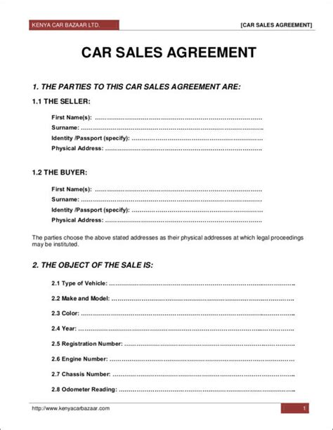 sales contract templates  docs word