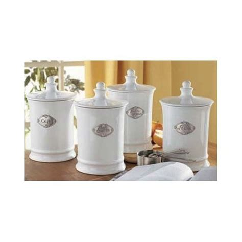 set of 4 white country kitchen canisters with