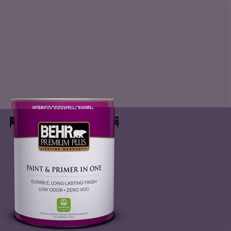 behr premium plus 1 gal 670f 6 vintage grape zero voc eggshell enamel interior paint 230001