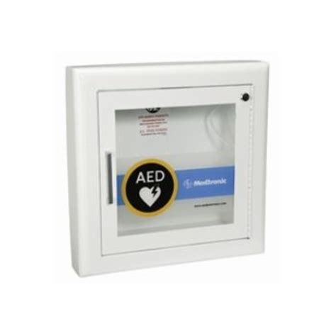AED Wall Cabinet with Alarm   Semi Recessed, Rolled Edges