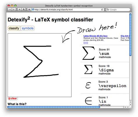 latex tutorial math symbols detexify draw a symbol get the latex command