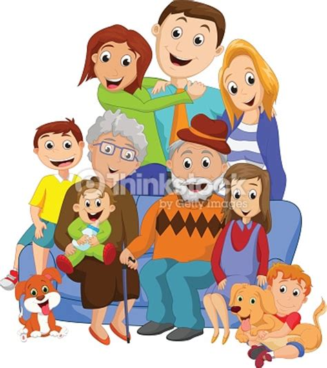 clipart famiglia big family with grandparents vector thinkstock
