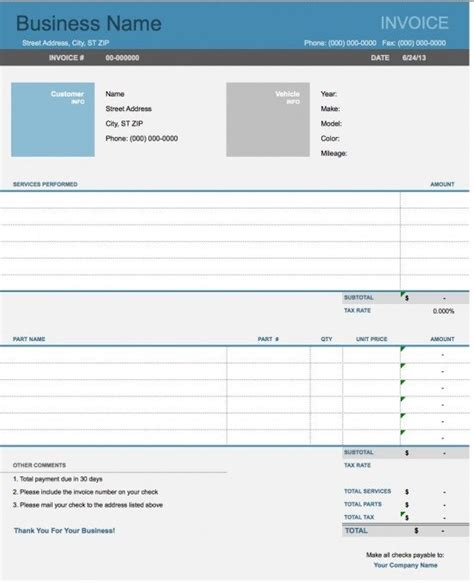 Car Parts Receipt Spredsheet Template by Free Auto Repair Invoice Template Excel Pdf