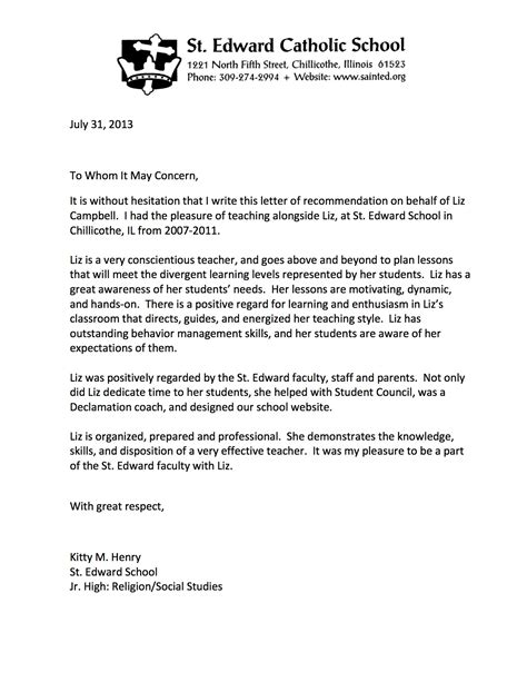 Business Letter Exle Middle School Letter Of Recommendation Henry Elizabeth Cbell Teaching Portfolio