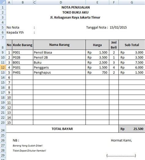 membuat database toko dengan excel membuat nota penjualan otomatis microsoft excel