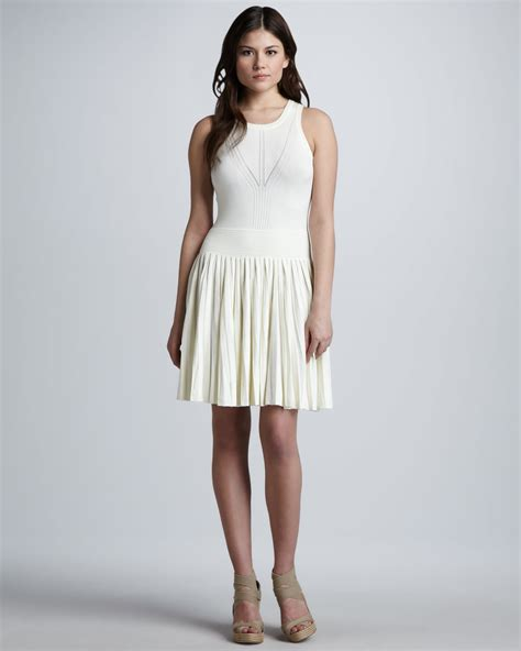 Milly Josephine Pleated Knit Dress In White Lyst