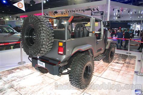 mahindra thar 2016 mahindra thar custom rear three quarter right at auto expo