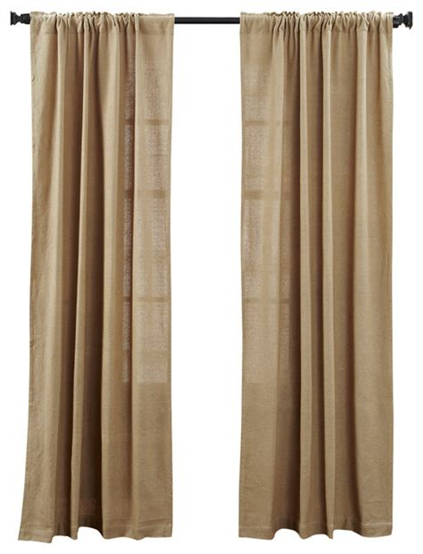 transitional curtains vhc brands inc burlap natural panel set of 2 curtains
