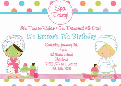 spa birthday invitation template spa birthday invitation spa spa by