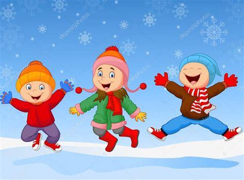 imagenes de invierno para jovenes ni 241 os de dibujos animados saltar juntos en invierno