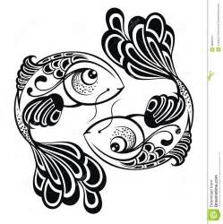 zodiac signs pisces tattoo design royalty free stock