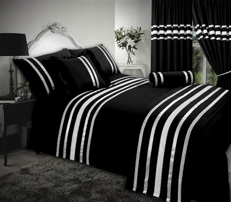 4 Tog King Size Duvet Black Silver Ribbon 200 Thread Count Cotton Luxurious