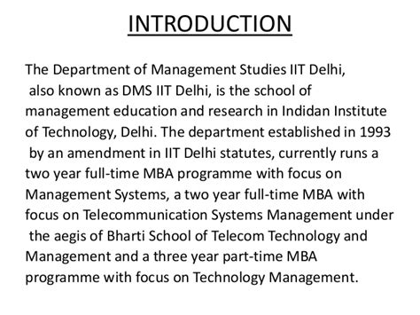 Iit Delhi Part Time Mba by Department Of Management Studies Iit Delhi
